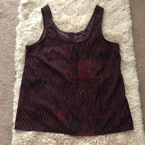 Forever 21 tribal print burgundy and navy top